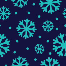 Blue Snowflake Print. Seamless Pattern Vector. Light Blue Snowflakes On Navy Background.