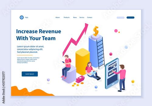 Fotografía Creative website template of Increase Revenue with Your Team concept