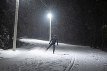 Snowfall At Night. Cross Count...