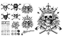 Graphic Detailed Black And White Human Skulls In Crown With Bones, Roses And Revolver. Isolated On White Background. Big Vector Icon Set.