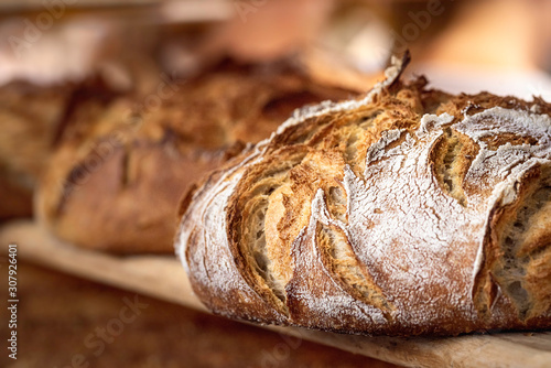 Fototapeta Sourdough bread with crispy crust on wooden shelf. Bakery goods obraz