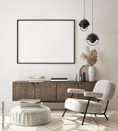 Photo sur Aluminium Individuel mock up poster frame in modern interior background, living room, Scandinavian style, 3D render, 3D illustration