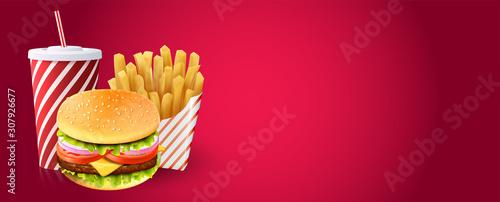 Deluxe king burger. 3d illustration. Fast food menu template for fastfood restaurant or cafe.