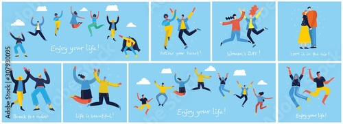 Fotografía Concept of young people jumping on blue background