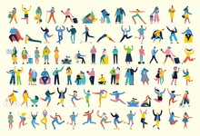 Bundle Of Cartoon Men And Women Performing Outdoor Activities On City Street. Flat Colorful Vector Illustration People Walking,standing, Talking, Running, Jumping, Sitting, Dancing And Doctors