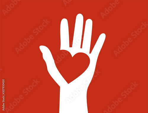 Obraz Raised hand with heart on its palm. Help, charity and love concept. Flat design - fototapety do salonu