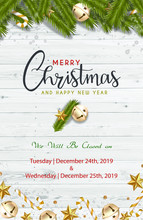 Ready To Print Christmas Banner Vertical Christmas Office Use Business Hours Federal Holidays Poster Greeting Cards Headers