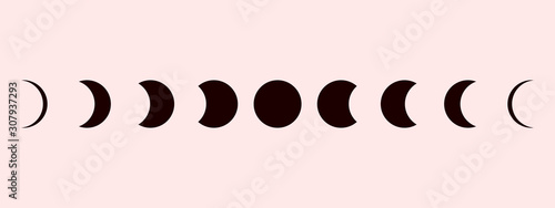 Fotografía Moon phases astronomy icon set Vector Illustration on the white background