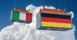 Freight container with Italy and Germany national flag. 3d rendering