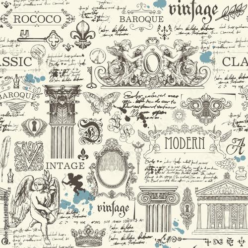 Tapety Barokowe  wektor-wzor-na-temat-zabytkowych-obiektow-sztuki-i-antykow-streszczenie-tlo-z-odrecznymi-notatkami-i-rysunkami-nadaje-sie-do-staromodnych-tapet-papieru-do-pakowania-tkaniny