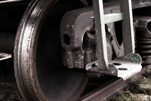 Old Train Wheel Close Up