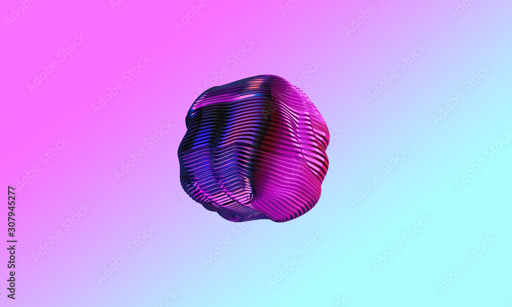 Fototapeta Abstract 3d graphic object on bright gradient background