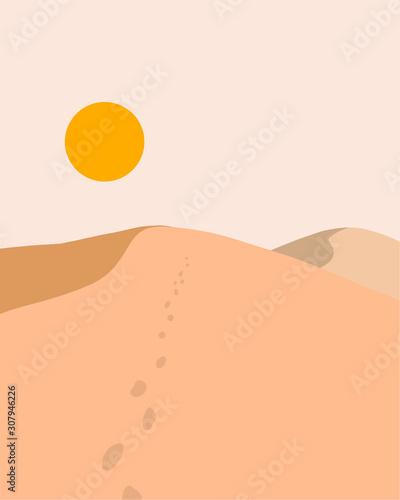 Fototapeta dunes dessert landscape with bright sun adventure travelling concept flat illust