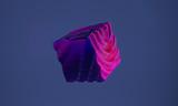 Abstrakcyjny obiekt graficzny 3d na zimnym niebieskim tle