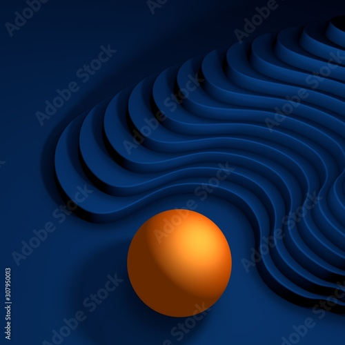 Orange ball in front of a deep blue stair background