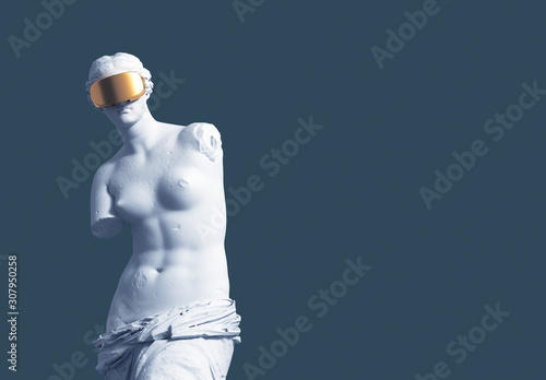 Cuadros en Lienzo 3D Model Aphrodite With Golden Virtual Reality Glasses On Blue Background