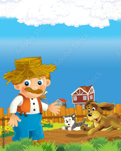 Cadres-photo bureau Ouest sauvage cartoon scene with happy farmer man on the farm ranch illustration for the children