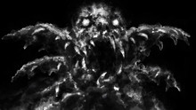 Scary Monster Face With Opened Mouth. Black And White