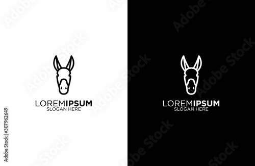 Tela Donkey line art logo design illustration