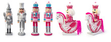 Traditional Figurine Christmas Nutcracker Wearing An Old Military Style Uniform On A Horse Isolated On White, Clipping Path Included