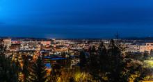 Evening Cityscape Of Spokane Washington