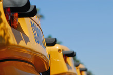 Detail Of School Buses Lined Up.