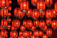 Festive Red Lanterns In China Town.Explanation Of The Text On The Lantern: Blessings, Prayers