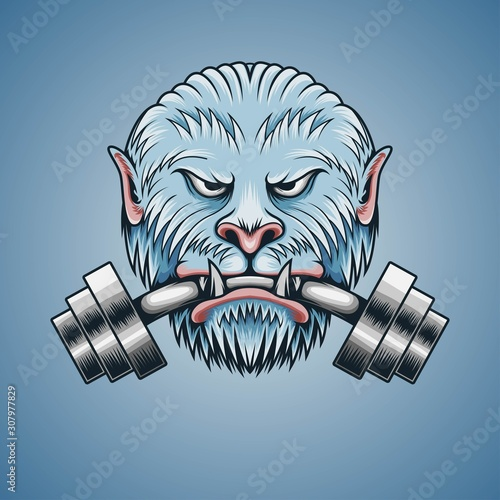 Obraz na plátně  Yeti bite the barbell illustration for digital, t shirt, apparel and other merch
