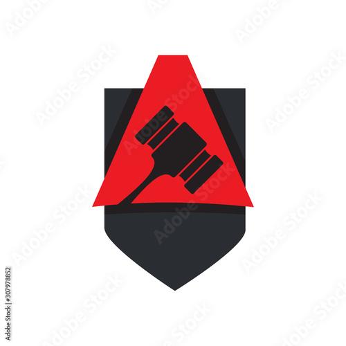 Auction logo design vector illustration Canvas Print