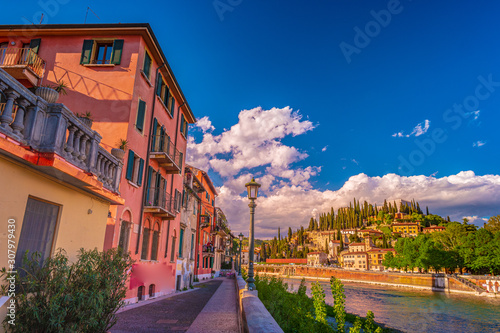 Verona, Italy. A scenic panoramic view of the river of Adige Canvas Print