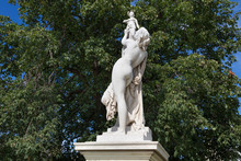 Marble Sculpture Cassandra Under The Protection Of Pallas (1877) By Aime Millet (1819-1891) In The Tuileries Park, Paris, France.