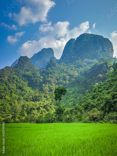 Recess Fitting Mountains Atmosphere of rice fields and mountains, Vang Vieng City, Vientiane Province