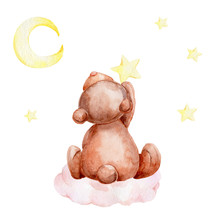 Little Brown Teddy Bear Sitting On A Cloud And Yellow Moon And Stars; Watercolor Hand Draw Illustration; With White Isolated Background