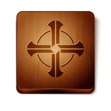 Brown Celtic Cross Icon Isolated On White Background. Happy Saint Patricks Day. Wooden Square Button. Vector Illustration
