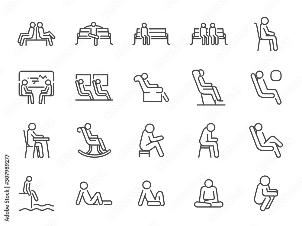 Fototapeta Wait icon set. Included icons as seat, sit, chair, armchair, bench and more.