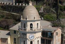 Bell Tower Of The Santa Margherita D'Antiochia Church, Vernazza, Liguria, Italy.