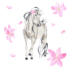 Watercolor Beautiful Horse Among Pink Flowers. Delicate Illustration Perfect For Romantic Invitations Or Cards, As Well As For Other Creative Sophisticated Projects.