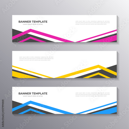 Fototapeta Business Banner Template, Layout Background Design, Corporate Geometric web header or footer in gradient color obraz