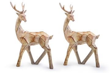 Wooden reindeer Christmas decorative item isolated on white background, Clipping path included