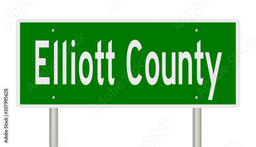фотография Rendering of a 3d green highway sign for Elliott County