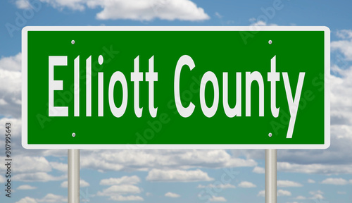 Rendering of a 3d green highway sign for Elliott County Wallpaper Mural