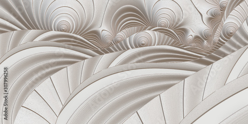 Fractal pattern in the style of stucco bas-relief on a gray stone wall Wallpaper Mural