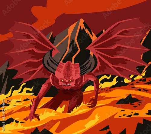 giant evil demon in magma hellfire Fototapet