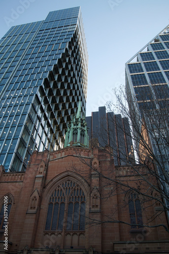 Sydney Australia, streetscape with new building occupying airspace above  St Ste Wallpaper Mural