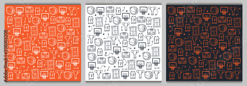 Obraz Set of Basketball backgrounds with hand draw doodle elements. - fototapety do salonu
