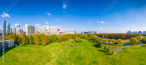 Photo Aerial aerial photographof of the new century park in Pudong New Area, Shanghai,