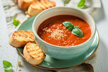 Tasty And Creamy Tomato Soup Made Of Fresh Tomatoes