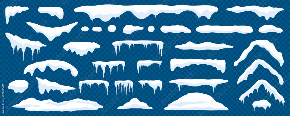 Fototapeta Snow caps, snowy ice and frozen icicles, vector cartoon icons, isolated on transparent background. Abstract snow frost caps and icicles of house roof shape for Christmas and New Year elements design