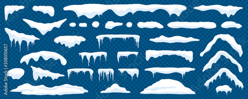 Snow caps, snowy ice and frozen icicles, vector cartoon icons, isolated on transparent background. Abstract snow frost caps and icicles of house roof shape for Christmas and New Year elements design