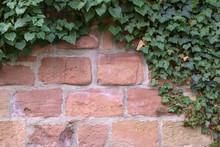 Wall Of Reddish Sandstone Fram...
